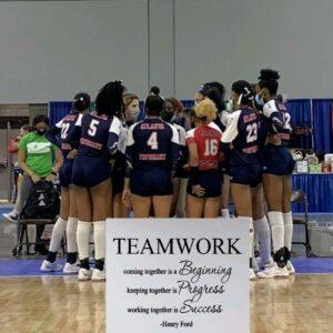 18 elite AAU team huddle